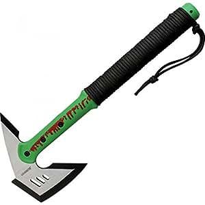 """Master Cutlery ZB-AXE1 Z-Hunter 16"""" Zombie Green Axe, Nylon Fiber Handle, Satin Blade with Black Edge"""