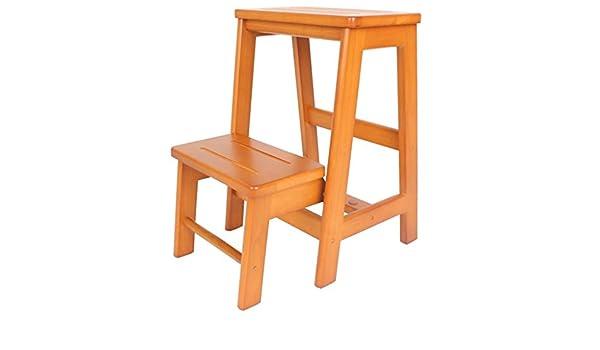 ZYC-WF - Taburete de madera antideslizante con 2 peldaños, escalera plegable para cocina, dormitorio, para adultos y niños, multifunción, escalera: Amazon.es: Bricolaje y herramientas