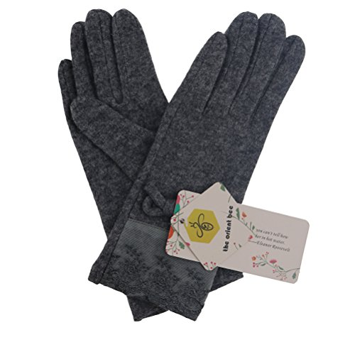 The Orient Bee Women's Unique Cashmere Gloves Mittens for Spring and Autumn(5 grey)