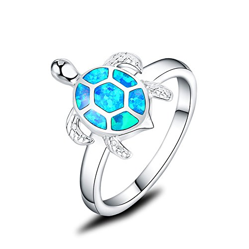 Silver Honu Sea Turtle - Mozume 925 Sterling Silver Turtle Ring Honu with Created Black Opal Shell Halo Solitaire (9.5)