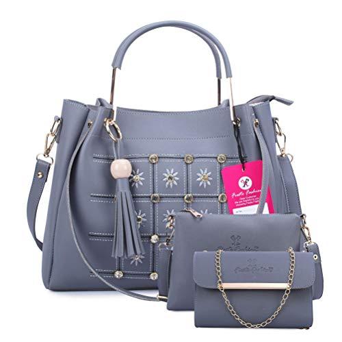 Fiesto Fashion Women's Handbag (Set of 3) (FIESTO33_Blue)