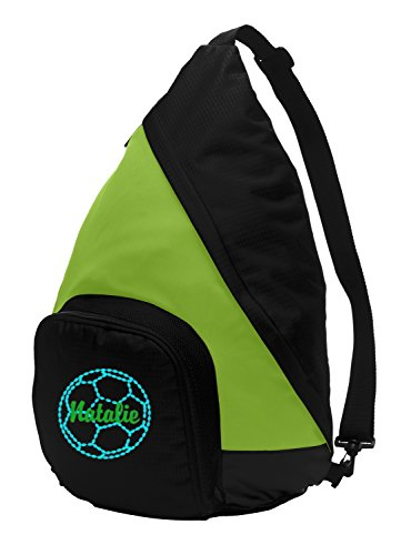 All about me company Active Sling Pack Backpack | Personalized Soccer Book Bag (Lime/Black)]()