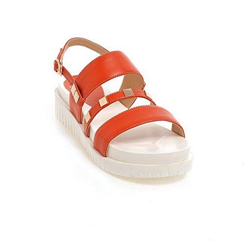 Buckle Open Material Solid Kitten WeenFashion Sandals Toe Heels Women's Soft Jacinth nq0WwTapS