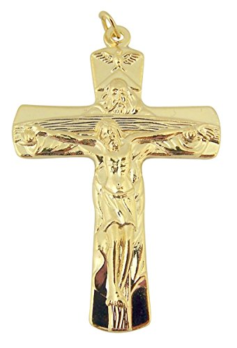 Gold Toned Base Father Son Holy Spirit Dove Trinity Cross Crucifix, 2 ()