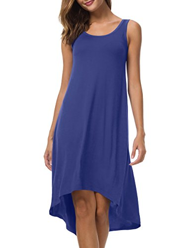 VOBCTY Super Soft Summer Beach Casual High Low Hem Sleeveless Dress (Small, Royal (Blue Soft Dress)