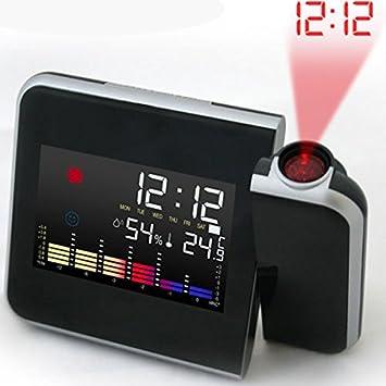 LEORX Reloj despertador con proyector de la proyección de hora y ...