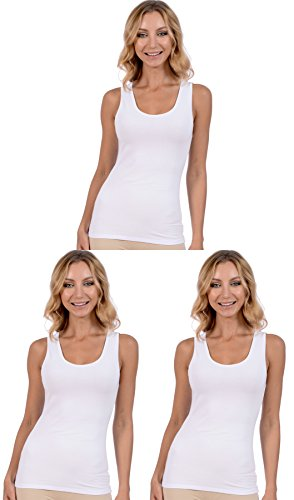 Patricia Lingerie Women's Layering Cotton Modal Tank Top Cami 3 Pack (White, M) (Lingerie Tank)