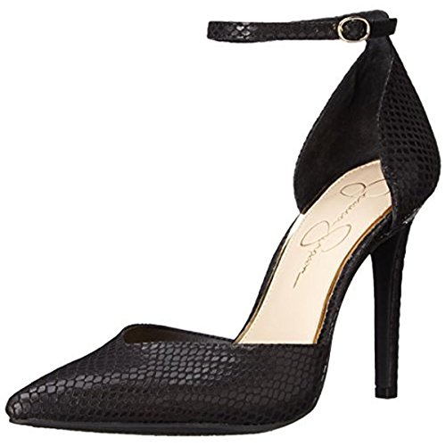 Jessica Simpson Women's Cirrus Dress-Pump Wedge Sandal, Black Snake, 7.5 M US