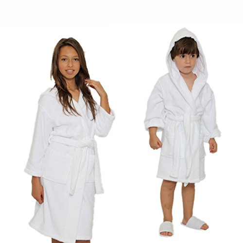 Kids Terry Cloth Robe 100% Cotton Hooded Bathrobe for Girl and Boy (White, L) (Boys Terry Cloth)