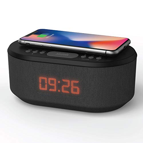 Dawn: Bedside Radio Alarm Clock with USB Charger, Bluetooth Speaker, QI Wireless Charging, Dual Alarm & Dimmable LED Display - Black