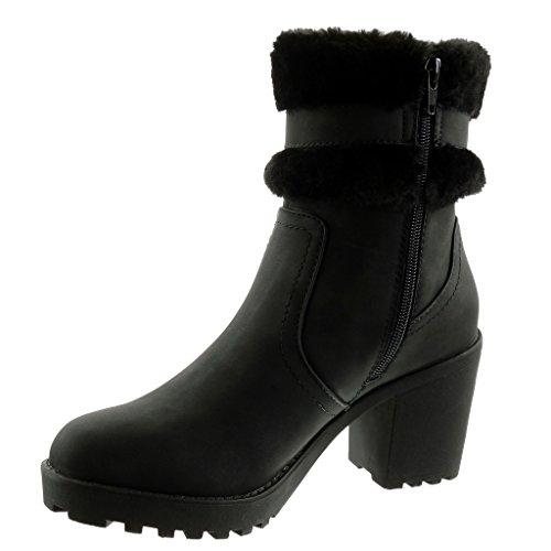 Angkorly Women's Fashion Shoes Ankle Boots - Booty - Biker - Cavalier - Fur - Thong - Buckle Block High Heel 8 cm Black tAh4BBJ3