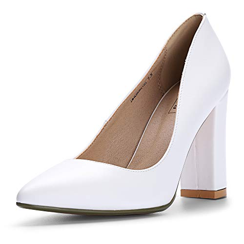 IDIFU Women's IN4 Chunky-HI Classic Closed Pointed Toe Pumps High Chunky Block Heels Dress Office Shoes (White Pu, 9 M US)
