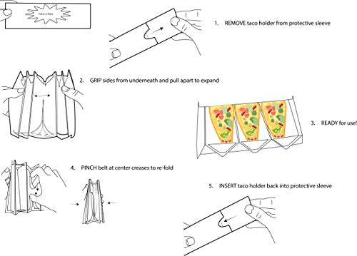 Taco Holder (Unicorn) | 2 Pack | Foldable | Tacos | Taco Shells | Taco Stand | Taco Holders | Tortilla Holder | Taco Party | Taco Plates | Taco Bar | Taco Stands | Taco Rack | Taco Tray | Taco Gifts by Fold-A-Taco (Image #3)