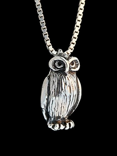 Owl Necklace Silver - Owl Charm Owl Pendant (A Bird In The Hand Winnie The Pooh)