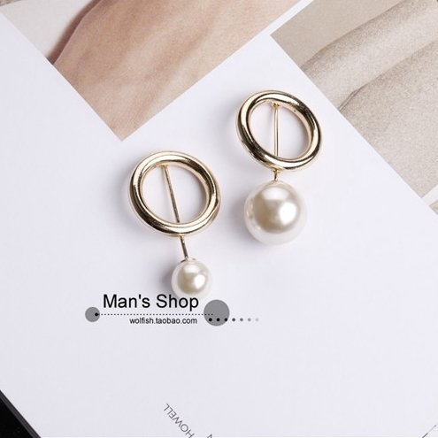 (Simple temperament round pin European and American fashion jewelry cufflinks short needle minimalist style brooch pin small tide)