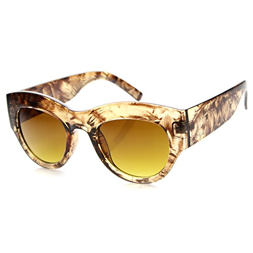 zeroUV - Womens Fashion Transparent Palm Tree Print Bold Chunky Cat Eye Sunglasses 50mm (Light Brown / - Black Glasses Chunky
