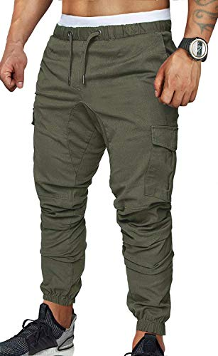 ZOEREA Jogger Cargo Men's Chino Jeans Casual Trouser Outdoor Working Pants (Green-New Version, XL)