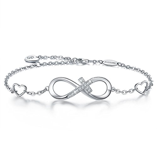 (BlingGem Bracelet for Women in 925 Sterling Silver Infinity Religious Sideways Cross Bracelet with Cubic Zirconia Faith Jewelry Adjustable Charm Bracelet Gift for Women on Mother's Day)