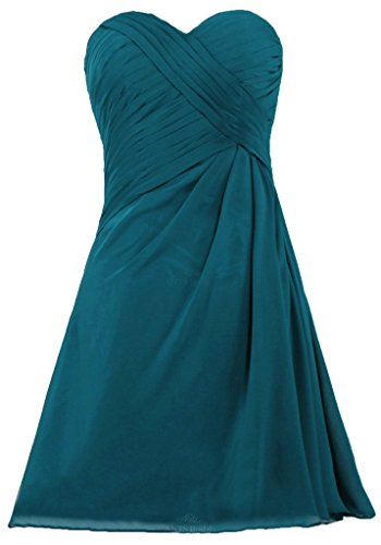 ANTS Women's Simple Strapless Short Bridesmaid Dress for Wedding Party Size 22W US Teal Blue