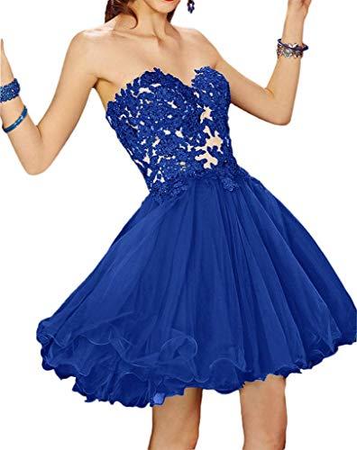 Blau Kurz Mini Royal Abendkleider Spitze Attraktive Cocktailkleider Partykleider von mia Braut Damen La Rock oberhalb Knie F4w0HZxqW