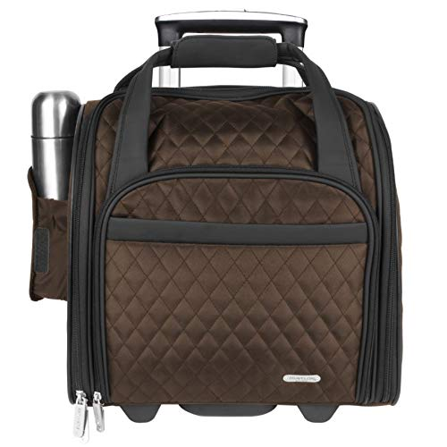 Travelon Luggage Wheeled Underseat Carry-on with Back-up Bag in Quilted Microfiber, Chocolate