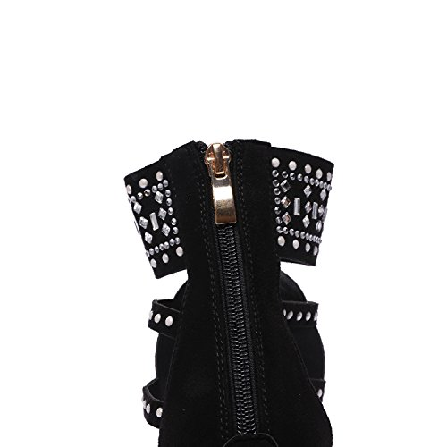 Crossover Toe Black Heep 36 JXILY High Black Openwork Strappy Womens qwIBS
