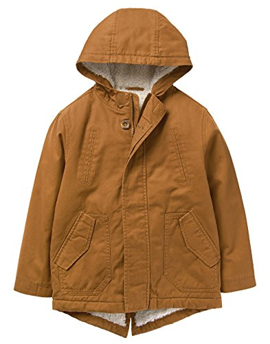 (Crazy 8 Boys' Little Long Sleeve Sherpa Lined Utility Jacket, tan, M)