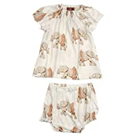 Milkbarn Bamboo Peasant Dress with Bloomer: Tutu Elephant (12-18 Months)