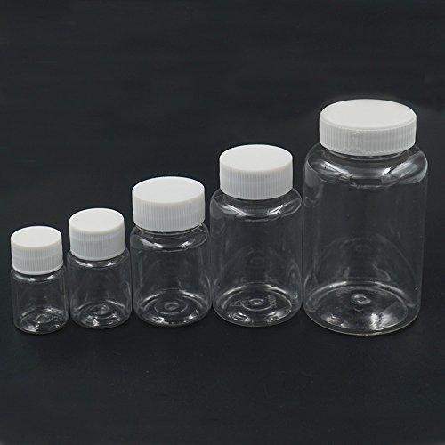 Bluemoona 20 Pcs - Empty Plastic 30ml Sample Vial Tube Storage Bottles Turn Screw Cover Cap Round