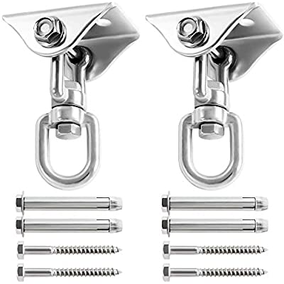 UniqueFire Heavy Duty Swing Hangers Set 1000LB Capacity, Permanent Antirust Stainless Steel 304S Swivel Hooks 360°Rotate for Concrete and Wooden Swing Sets, Playground Porch Yoga Hammock (2 Pack): Sports & Outdoors