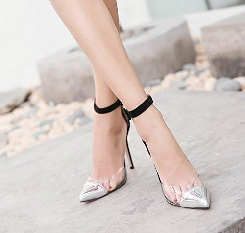 Fermé Pvc Bout Pour Haut Argent La Transparent À Stiletto Bretelles Chaussures Dandanjie Avec Sandales Femmes Cheville Talon pqXwIOg4