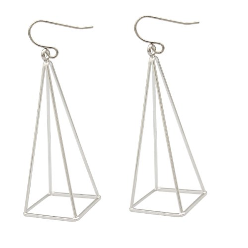 - RechicGu Silver Blogger Aztec Cut Out 3D Triangle Pyramid Steampunk Diva Gypsy Earrings with Gift Box