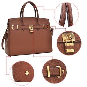 2pcs Satchel Bag Key F1006 Handbags Bag Designer Women's Without Shoulder Brown Briefcase Leather Purse Handle Padlock Tote Dasein Laptop Top Faux tqTwHC