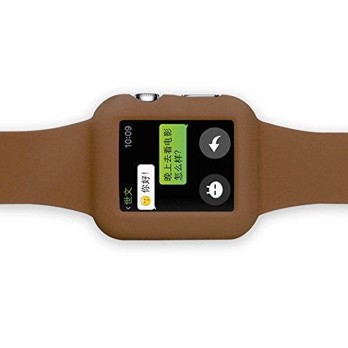 Apple Watch Silicon Band, VIMVIP Silicon Case Strap with Stainless Steel Classical Buckle Full Protective Soft Wristband for Apple Watch iWatch 42mm (Brown)