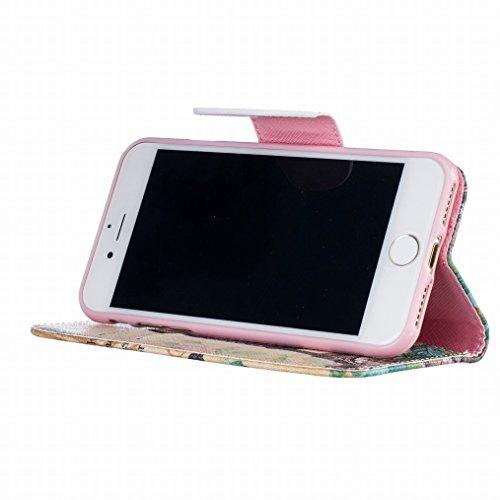 LEMORRY Apple iPhone 7 Custodia Pelle Cuoio Flip Portafoglio Borsa Sottile Fit Bumper Protettivo Magnetico Chiusura Standing Card Slot Morbido Silicone TPU Case Cover Custodia per iPhone 7, Torre Eiff