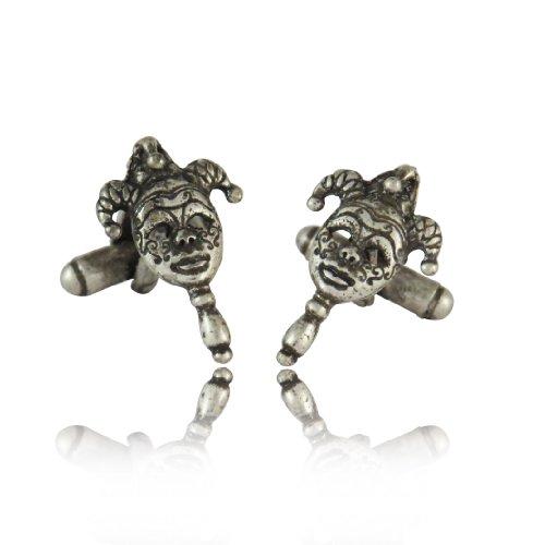 Cuff-Daddy Mardi Gras New Orleans Mask Cufflinks Silver with Presentation Box ()