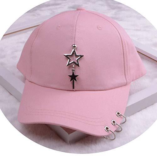 女性 リング野球帽 男性女性 白黒 野球の帽子,2つ星のピンク