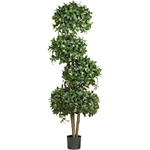 Nearly Natural 5244 Sweet Bay Topiary with Silk Tree, 69-Inch, Green 79