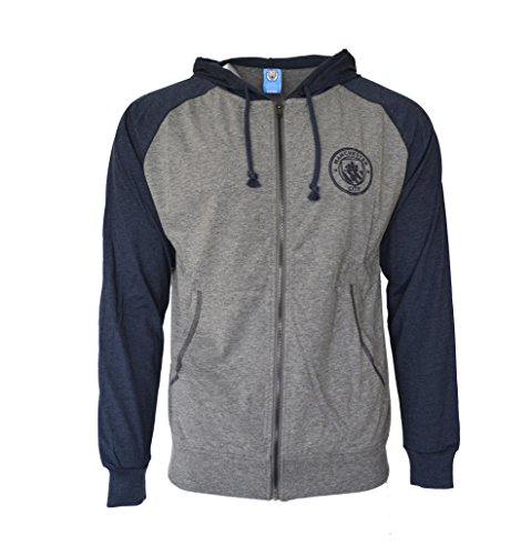 Manchester City Hoodie lightweight Fz Summer Light Zip up Jacket Grey Adults (Grey, XL)