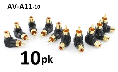 CablesOnline 10-PACK RCA Male Plug to RCA Female Right-Angle Gold-Plated Adapter (AV-A11-10)