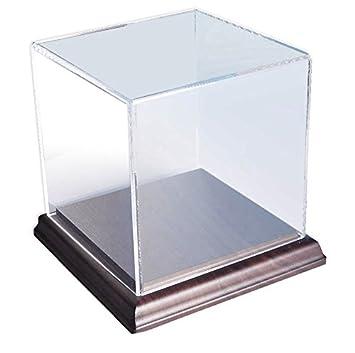 Choice Acrylic Displays Acrylic Box Case with Walnut Base 5 Sided Display Box Acrylic Cube Size 6-3 8 Hx6 Wx6 D