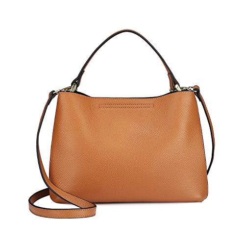 S-ZONE Women's Genuine Leather Small Tote Handbag Purse Crossbody Bag with Removable Pouch (Brown) by S-ZONE