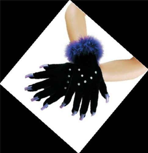 Black Sparkle Gloves with Long Nails, Costume, Halloween, Goth, (Glam Halloween Costumes)