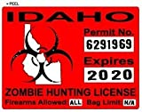 Idaho ID Zombie Hunting License Permit Red - Biohazard Response Team - Window Bumper Locker Sticker