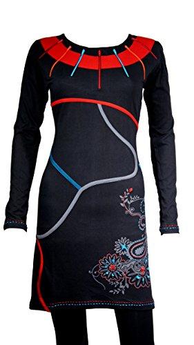 Wunderschönes Tunika Langarm Kleid mit ethnischen Details & bunte Stickereien - 100 % Baumwolle - ADAH
