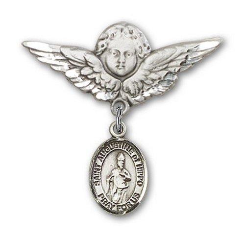 Icecarats Créatrice De Bijoux En Argent Sterling St. Augustin D'Hippone Charme Ange Broche De Badge 1 1/8 X 1 1/8