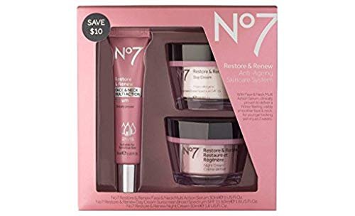 No7 Restore & Renew Face & Neck Multi Action Skincare System , pack of 1 (Best Face Cream For Women Over 50)