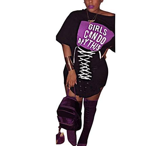 Mujeres Club Manga Camiseta Vestidos XL de Las Letras de Gadfjuotg Vestido Cordones Black tamaño con Color Corta Las Sexy de impresión Bodycon Cn6xqgzwPx