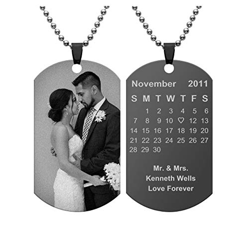 (Jovivi Personalized Photo Picture Necklace Custom Special Date Calendar Dog Tag Pendant Engraved Name Messsage for Couples Anniversary Mothers)