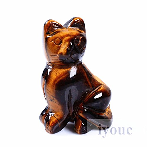 40mm Hand Carved Tiger's Eye Gemstone Cat Figurine Statue Stone Carving 1.6